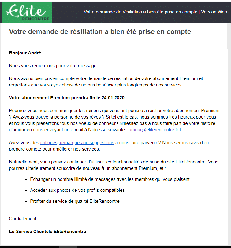 Confirmation fin abonnement par mail